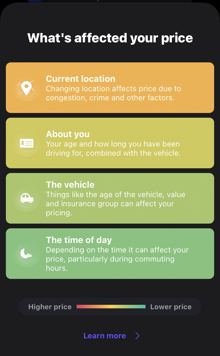 screenshot of 'what affects your price' pop-up that appears in the Cuvva app